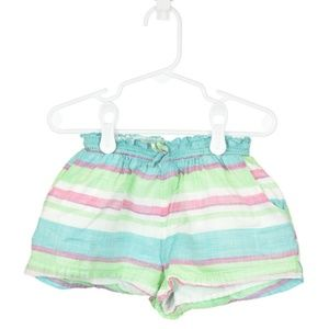 Baby Gap White, Pink, Teal, & Green Striped Shorts